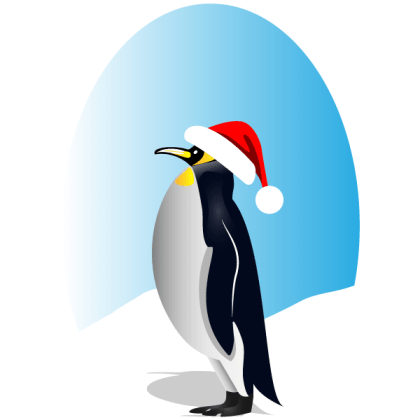 Penguin with Red Santa Hat Vector Clip Art