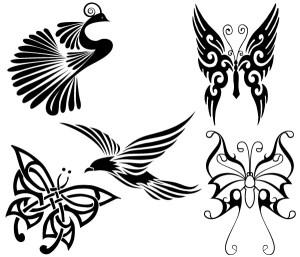 Free Tribal Birds and Butterflies Vector