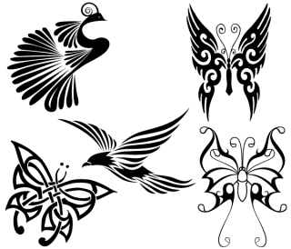 Free Tribal Birds and Butterflies Vector