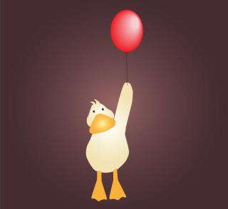 Cute Baby Duck Cartoon with Red Balloon Vector