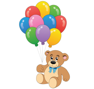Cute Teddy Bear with Colorful Balloons Vector Free
