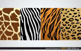 Free Animal Print Textures:  Zebra, Tiger, Giraffe, Leopard Skin Texture Vector