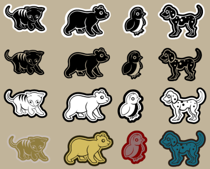Die Cut Animals Vector
