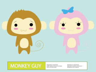 Cute Cartoon Monkey Guy Vector