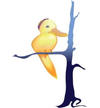 Cute Yellow Bird Vector Cartoon