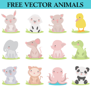 Free Cute Cartoon Animals Vector Images