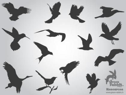 Free Flying Birds Silhouettes Vector Images