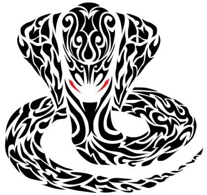 Tribal Cobra Snake Tattoo Vector