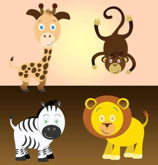 Free Cartoon Safari Animals Vector Art