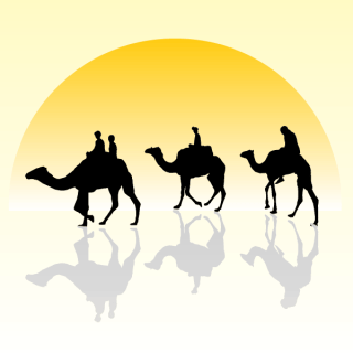 Camel Caravan Silhouette with Sunset Vector Image