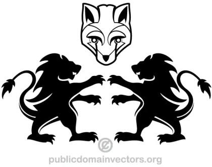Heraldic Lion and Fox Vector Image
