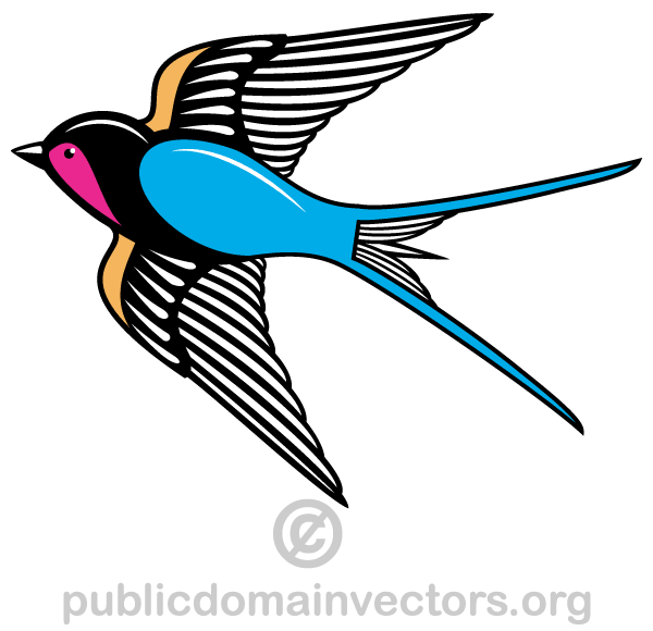 Flying Swallow Bird Vector Art