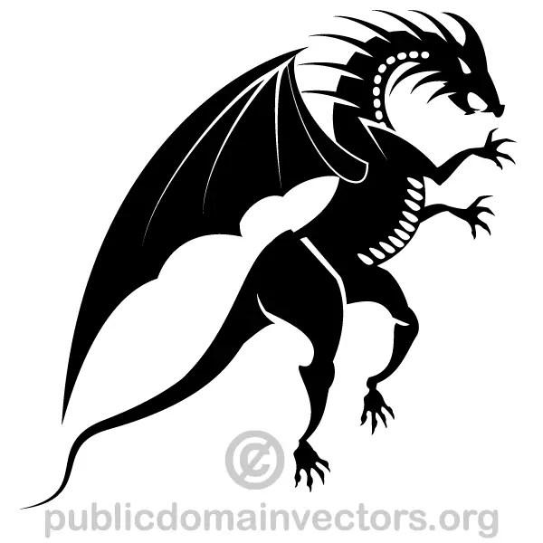 Dragon Silhouette Clip Art Image