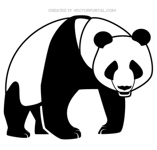 Panda Bear Silhouette Vector Art