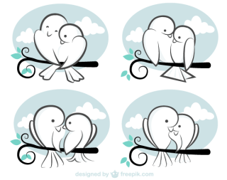 Valentine's Day Vector, Cute Cartoon Love Birds Image