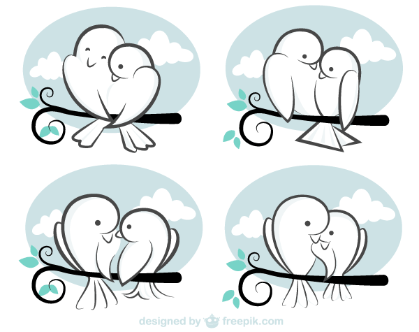 Valentine S Day Vector Cute Cartoon Love Birds Image