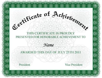 Certificate of Achievement Vector Illustration