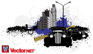 City Street Vector Art with Vintage Cars