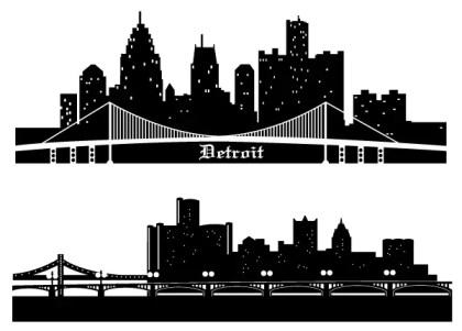 Detroit Skyline Vector Silhouettes Free