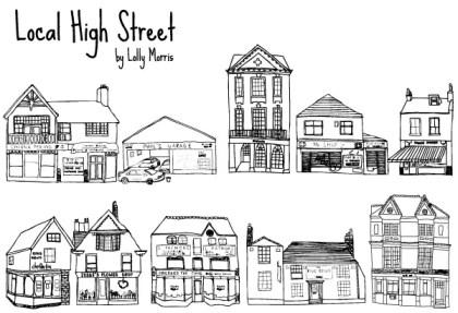 Free Hand Drawn High Street Shops Vectors