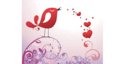 Pretty bird with hearts