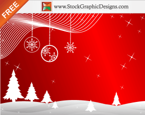 Freebie: Winter Red Background Vector with Christmas Trees