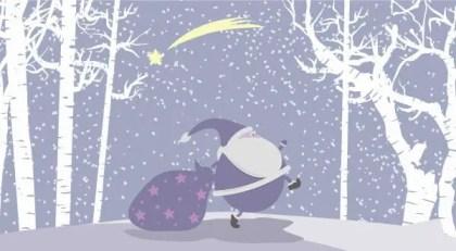 Snow Vector Christmas Illustration with Santa