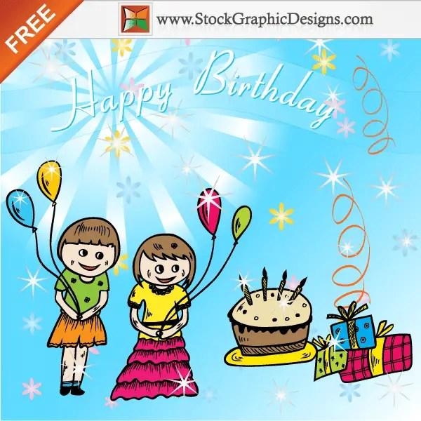 Freebie: Cute Cartoon Kids Celebrate a Birthday Party Vector Background