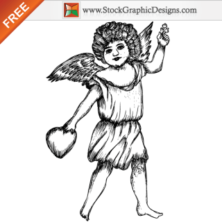 Cute Cupid Angel Free Vector Illustration
