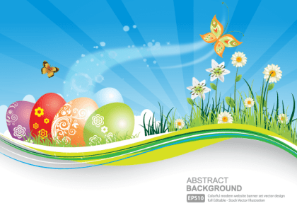 Easter Background with Colorful Easter Eggs Vector Illustrator