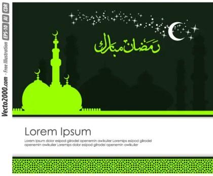 Ramadan Kareem Greeting Card Template Vector Free