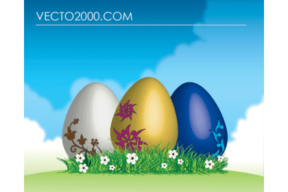 Easter Eggs on Green Grass Vector Free