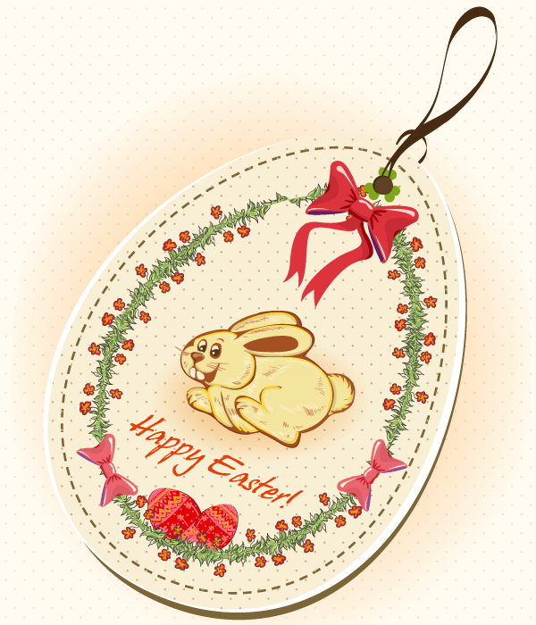 Free Easter Price Tag on Easter Bunny Vector Illustration
