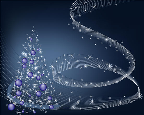Abstract Winter Blue Background with stars and Christmas Tree Vector Illustration