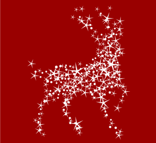 Magic Christmas Reindeer with Stars on Red Background Vector Illustration