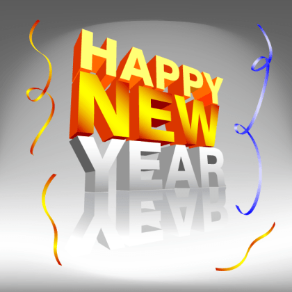 Happy New Year with Confetti Vector Illustration