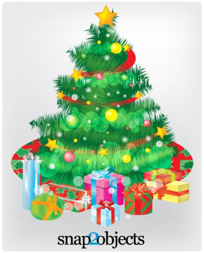 Free Vector Christmas Tree and Gift Boxes