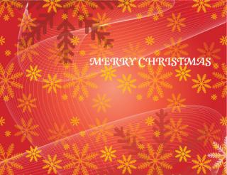 Christmas Red Vector Background with Snowflakes and Flowing Lines