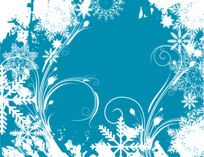 Vector Christmas Floral Background with Snowflakes