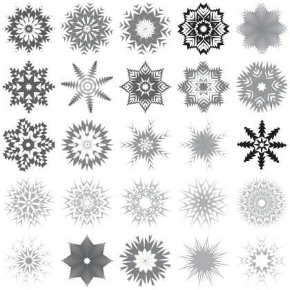 30 Snowflakes Free Vector Art