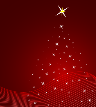 Red Christmas Background Vector Illustration with Stars