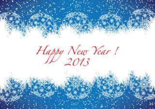 Happy New Year 2013 Blue Greeting Card Free Vector