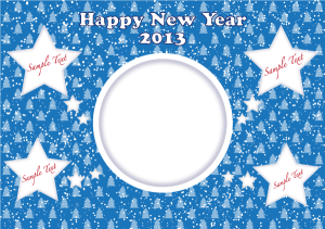 happy new year 2013 card with stars on blue background