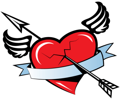 Red Winged Heart Banner with Arrow Free Vector