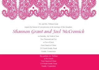 Paisley Wedding Invitation Template Vector
