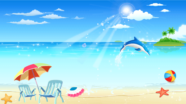 Free Seaside Resort Vector Image