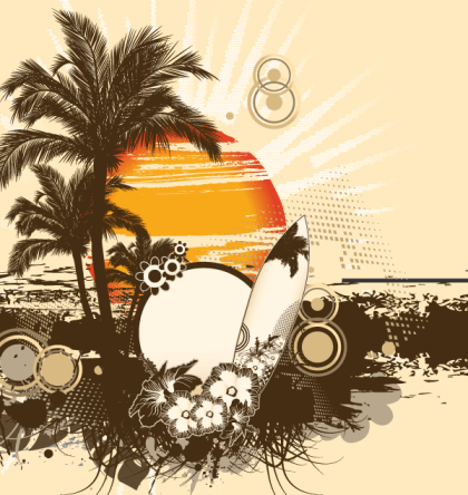 Free Vector Summer Illustration Palm Tree and Sun