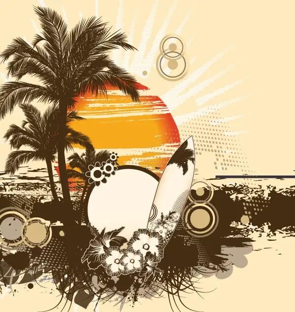 Free Vector Summer Illustration Palm Tree and Sun