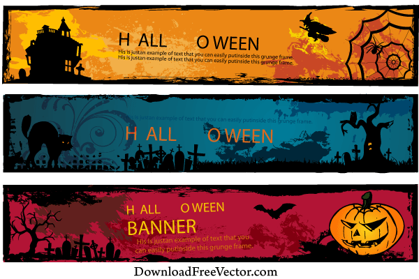 free halloween banners vector 123freevectors rh 123freevectors com Halloween Bat Vector Halloween Bat Vector