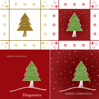 Merry Christmas Greeting Card Design with Tree and Twinkling Stars Vector
